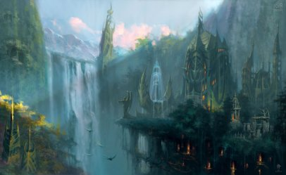 castle fantasy elf medieval elves waterfall rpg artwork series wallpapers wallpaperup 2k annihilated empires fighting strategy heroes action
