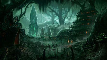 Artwork fantasy magical art forest tree landscape nature village town city cities wallpaper 3360x1890 652148 WallpaperUP
