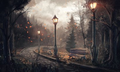 anime landscape forest tree night painting lamb leaf wallpaperup