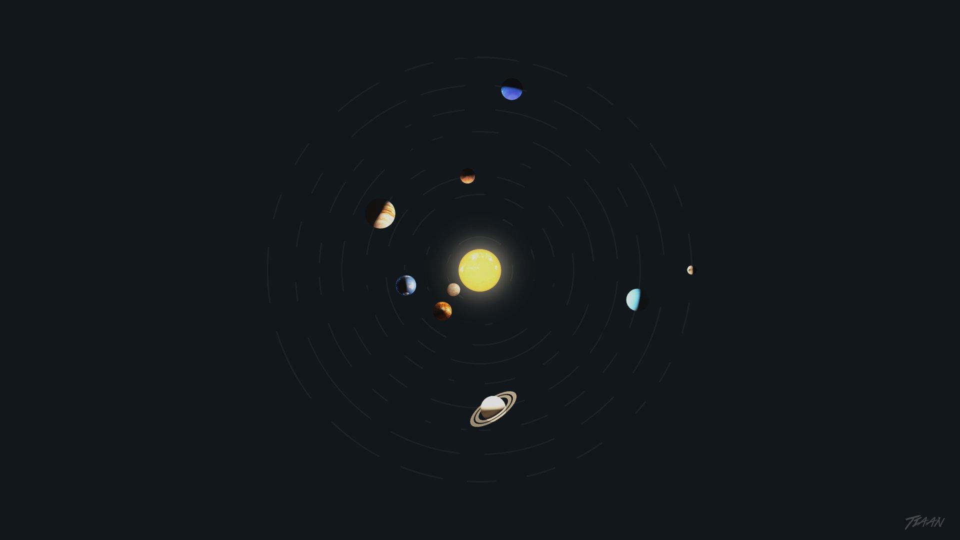 Solar System Minimalism Space Art Planet Adobe Photoshop