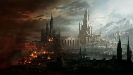 fantasy castle fire mountain destruction town lightning light bridge wallpaperup wallpapers
