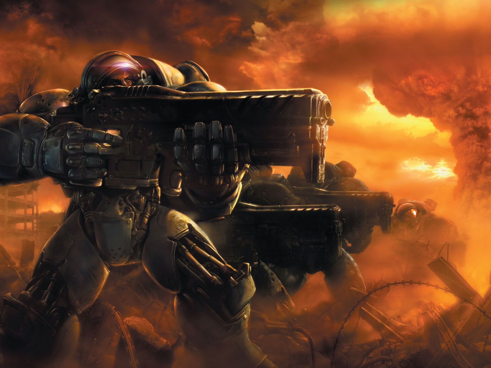 Terran Marines On The Attack - Starcraft 2 Wallpaper