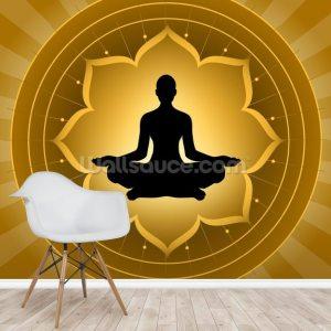 yoga meditation background lotus mural wall wallsauce murals install