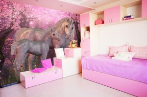 unicorn bedroom wall magical mystical pink completely realistic wallsauce forest idea mural bring child