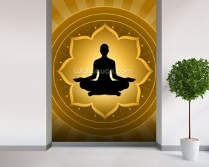 yoga meditation background mural lotus wall wallsauce murals