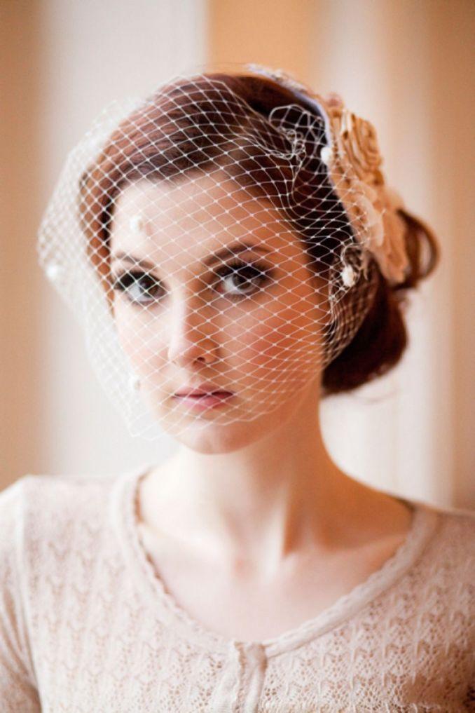 vintage wedding hairstyles with birdcage veil