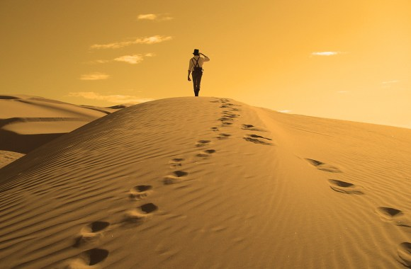 Man In Desert Wallpaper HD Widesreen