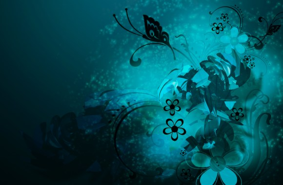 Flowers Abstract Blue Butterflie Swirls Vector Wallpaper