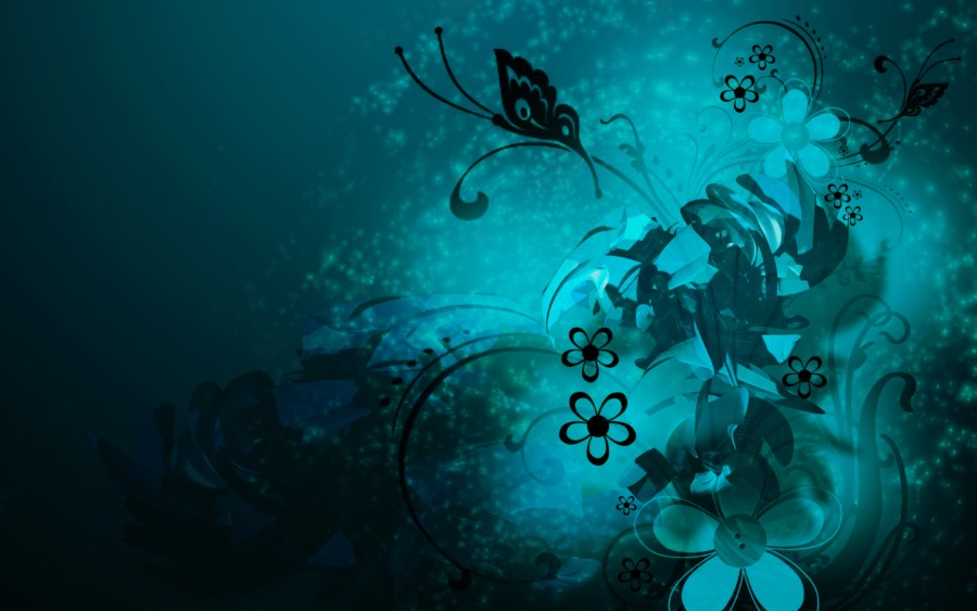 Flowers Abstract Blue Butterflie Swirls Vector Wallpaper