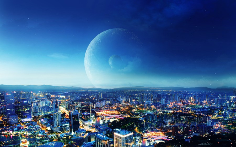 City Night Blue Black 3D Wallpaper Photo Picture Free Download