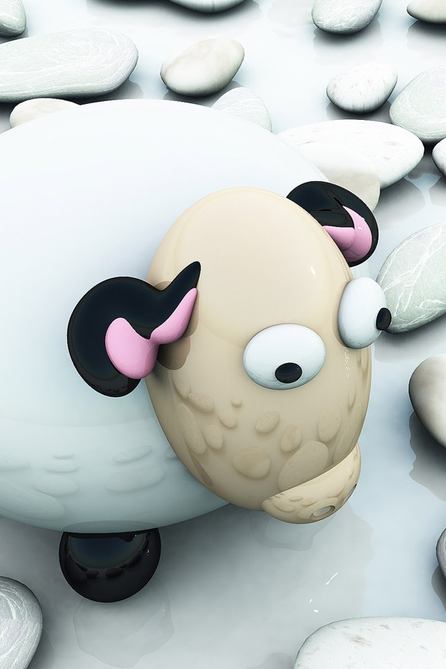 3D Sheep And Rock Apple Iphone 4S HD Wallpapers Free