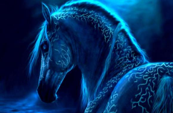 Beautiful Fantasy Blue Horse Abstract Animal For PC Computer