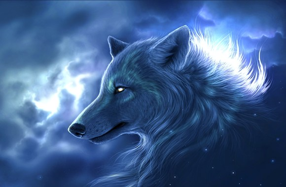 Awesome Beauty Blue Wolf Guardian Abstract Animal Image