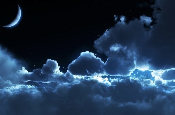 Cloudy Night Sky Wallpaper HD Widescreen For Your PC Desktop