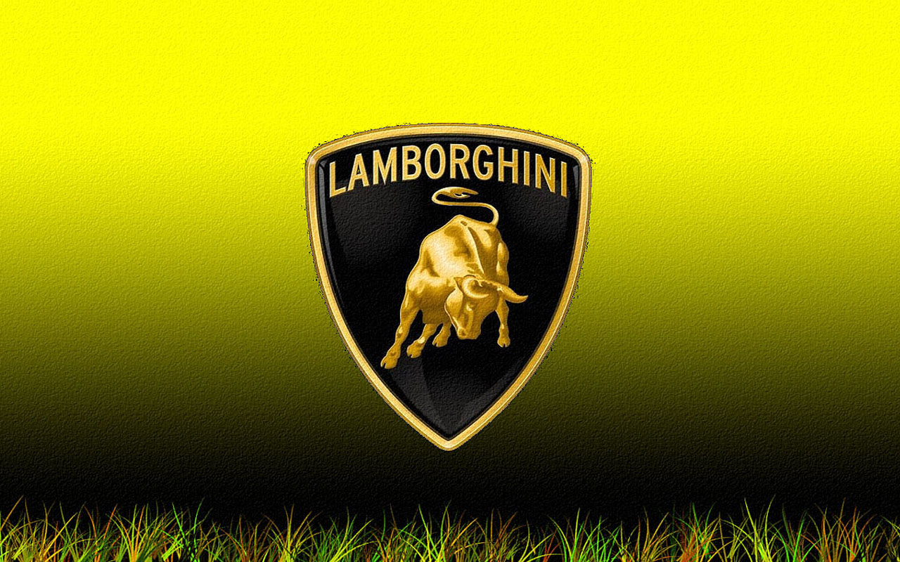 Lamborghini Logo Black Yellow Image HD Wallpaper Desktop