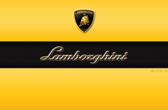 Lamborghini Font Logo Automotiv Yellow Black HD Wallpaper Image