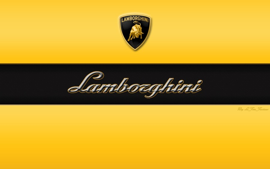 Lamborghini Font Logo Automotiv Yellow Black HD Wallpaper Image