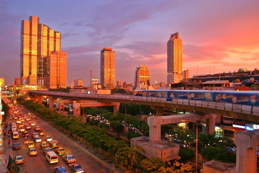 Beautiful Bangkok Skytrain Sunset Photo Picture HD Wallpaper Sharing
