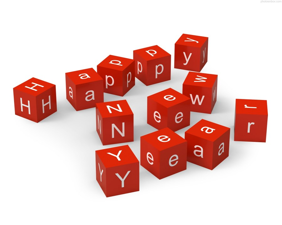 Beautirul Happy New Year Red Dice Picture HD Wallpaper Background