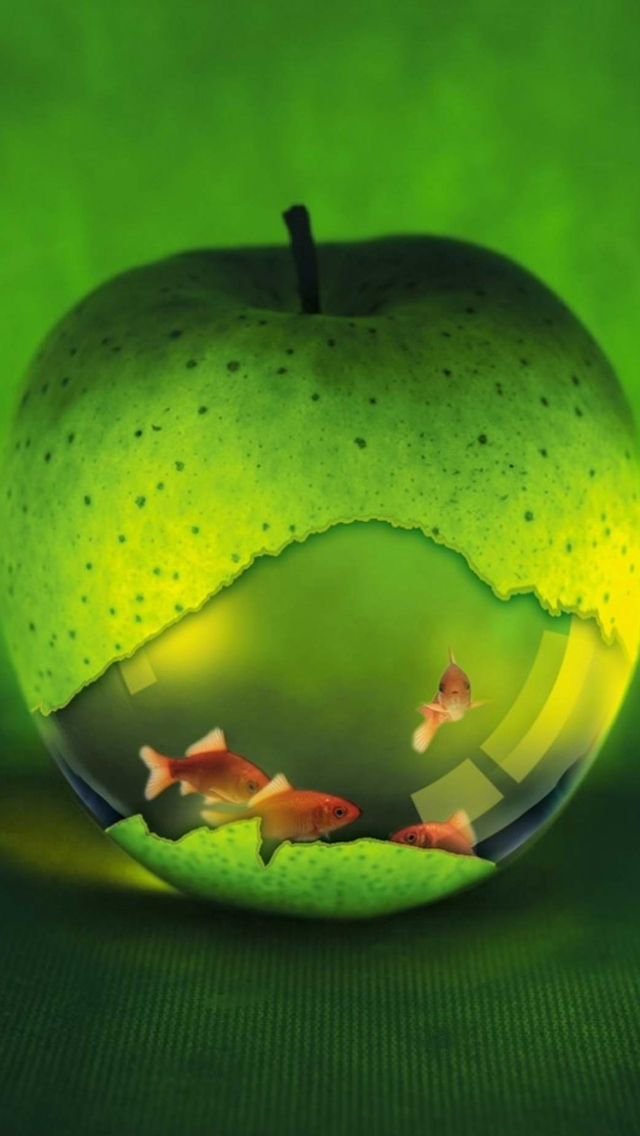 Green Apple Fish HD Wallpaper Image Picture For iPhone 5