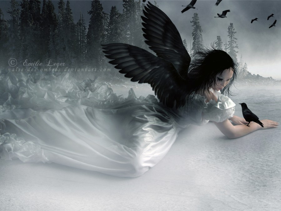 Gothic Angel With Black Swings Wallpaper HD Widescreen For PC Computer