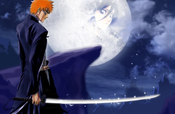 Bleach And Big White Moon HD Wallpaper Image For PC Desktop