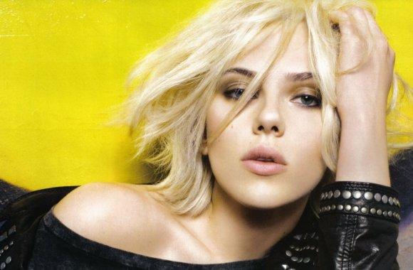 Scarlett Johansson Yellow Background HD Wallpaper Photoshoot
