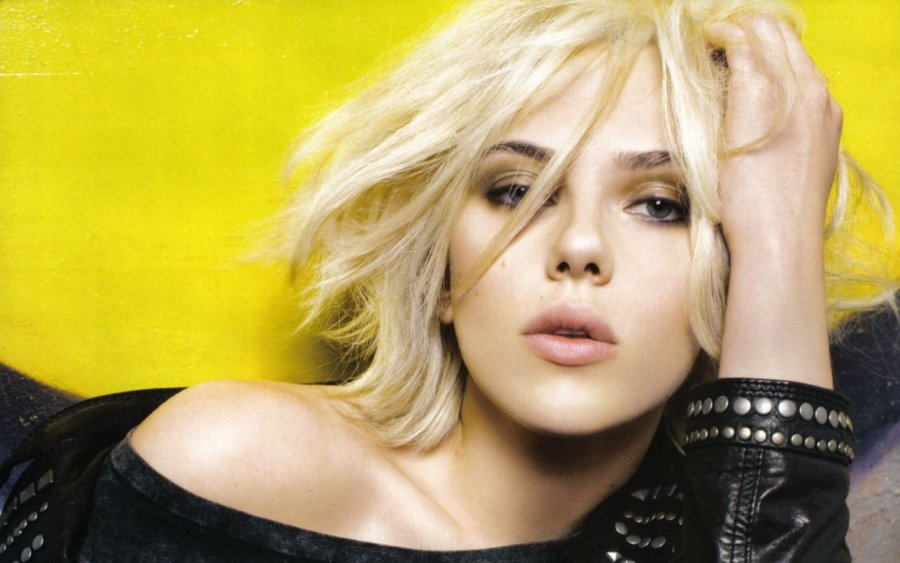 Scarlett Johansson Yellow Background HD Wallpaper Photoshoot