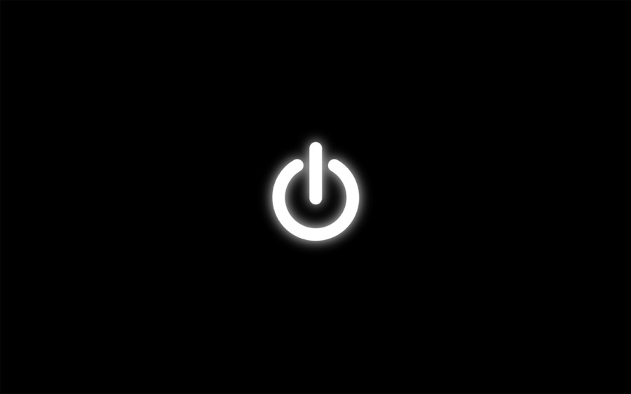 White Power Button And Black Background HD Wallpaper Widescreen