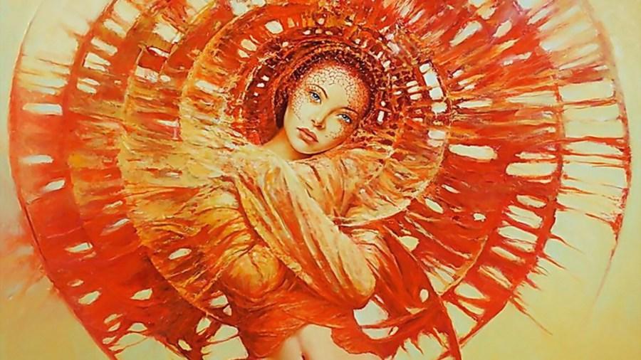 orange-sun with lovely lady