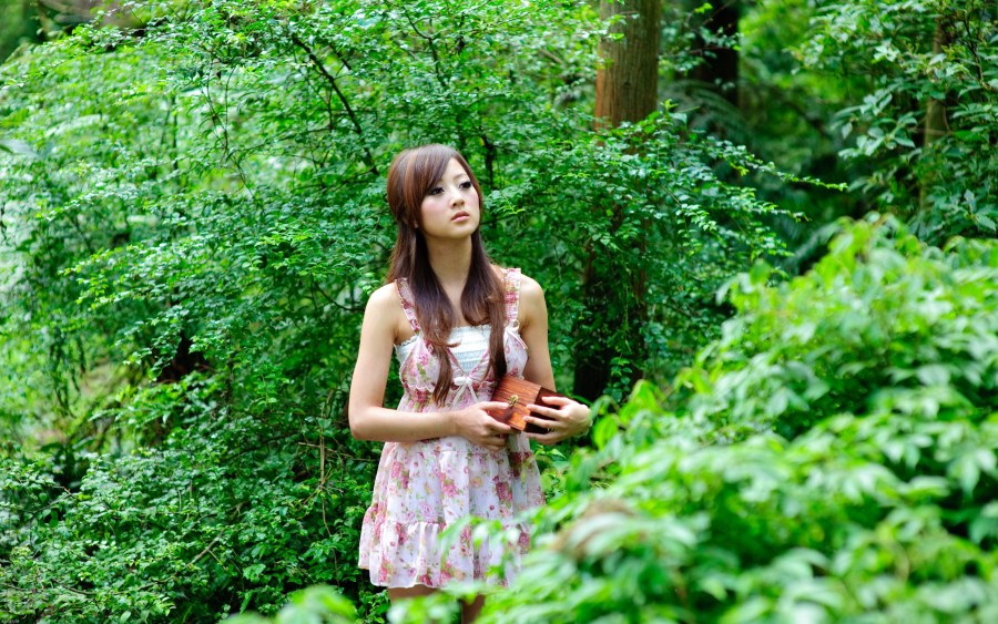 Attractive Women in Forest introspective