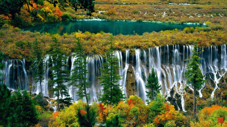 Jiuzhai Valley's Nuoriland Waterfall HD Wallpaper by Wallsev.com