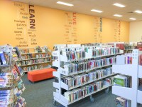 Library feature wall, word art wall decals