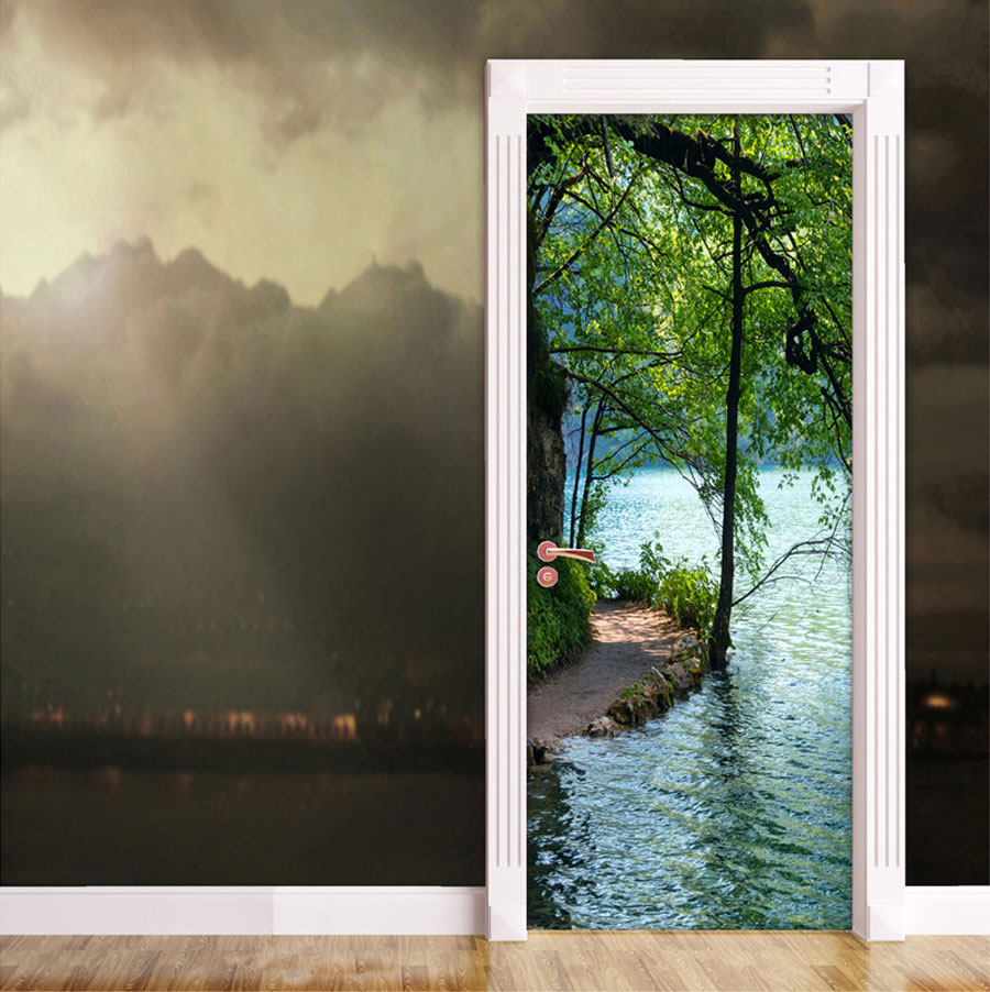Black Pink And Silver Wallpaper Lakeside Path Door Contact Paper Wall Sticker
