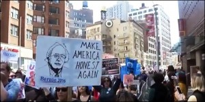 """Make America Honest Again"" Poster Appears at the New York City March for Bernie Sanders for President, April 16, 2016"