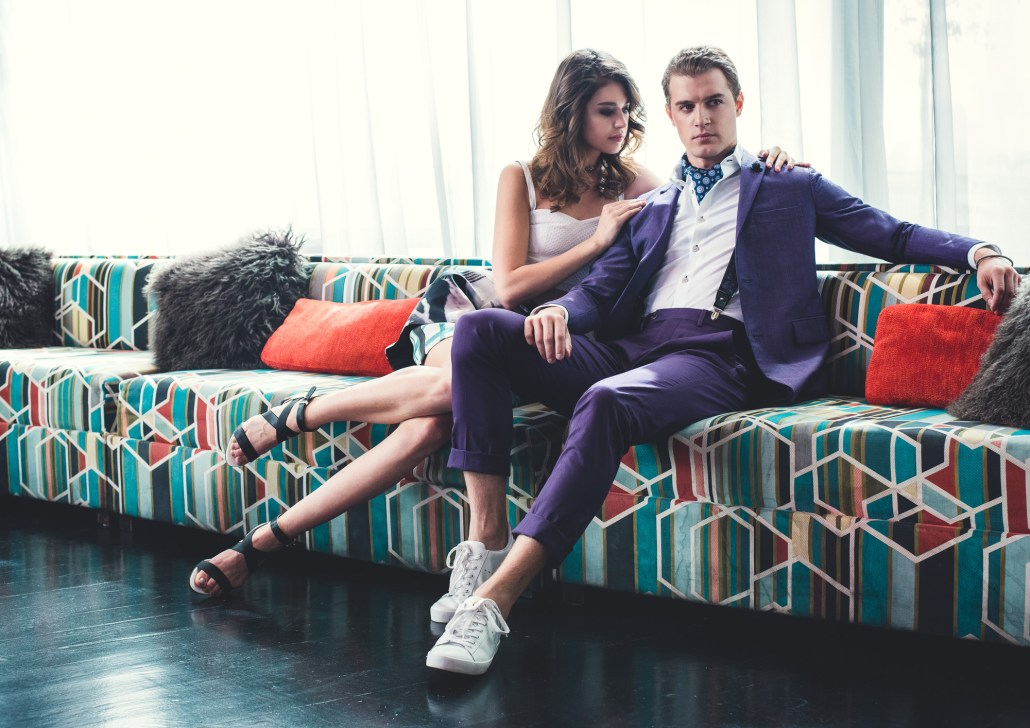 mens suit with trainers