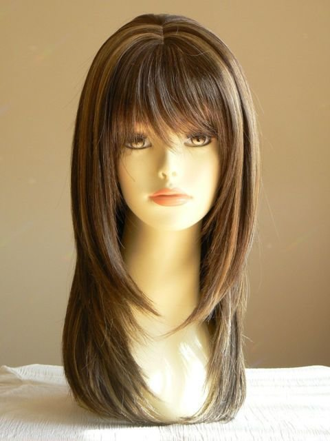 New Lady Sandy Straight Medium Brown Layered Wigs Salon Ideas With Pictures