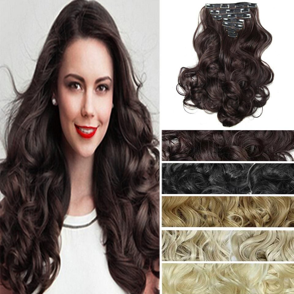 New 7Pcs Set False Hair Extension Long Curly Color Hair Ideas With Pictures