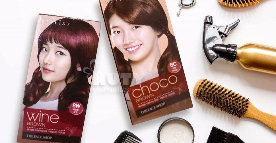 New The Face Shop Stylist Silky Hair Color Cream 8W Wine Brown Ideas With Pictures
