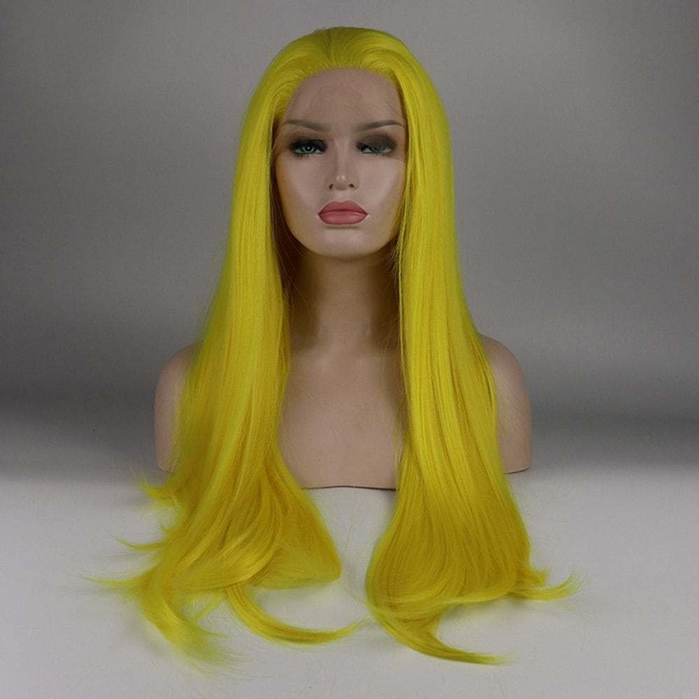 New 2018 Long Hair Yellow Color Straight Style Heat Resistant Ideas With Pictures