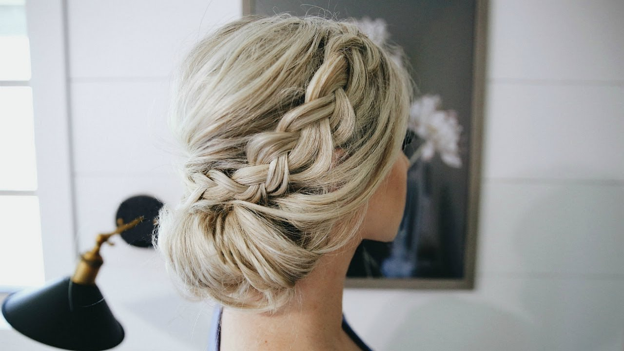 New Fancy Braided Bun Updo Simple Steps Youtube Ideas With Pictures