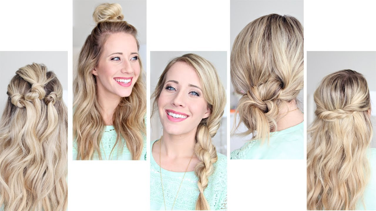 New Five Easy 1 Min Hairstyles Cute Girls Hairstyles Youtube Ideas With Pictures