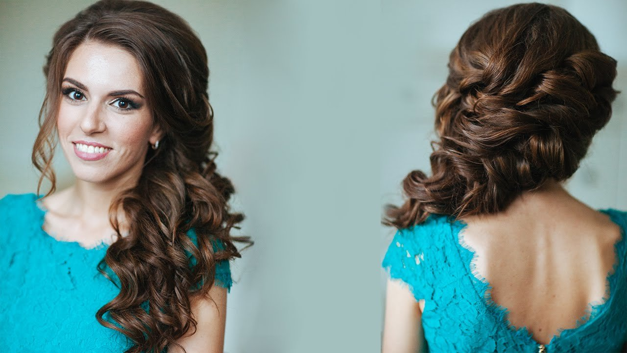 New Side Swept Curls Wedding Prom Hairstyles Tutorial Youtube Ideas With Pictures