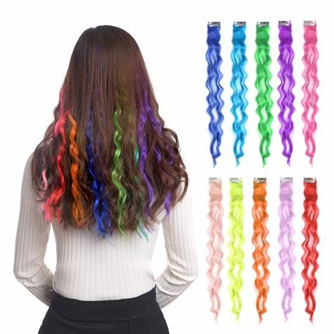 New Amazon Com 10Pcs Colored Clip In Hair Extensions 22 Ideas With Pictures