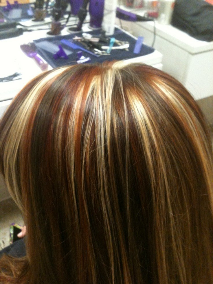 New Tri Colored Highlights Red Copper And Blonde Highlights Ideas With Pictures