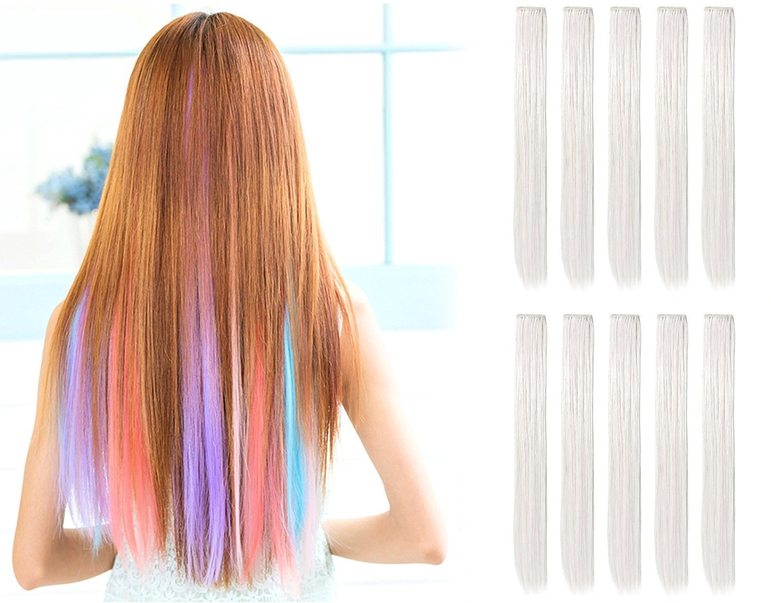 New 23 Straight Colored Party Highlight Clip On In Hair Ideas With Pictures