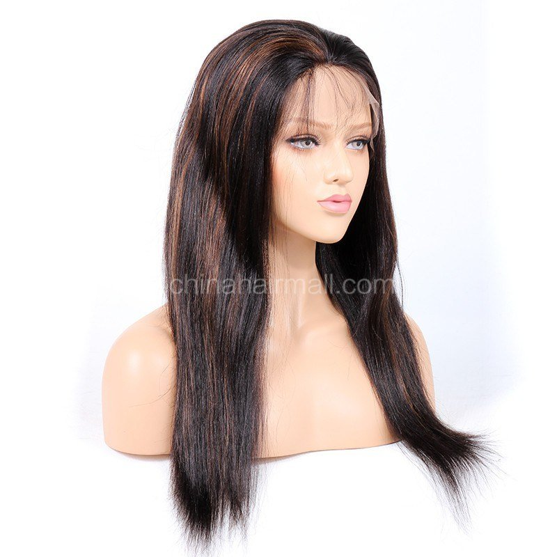 New 1B 30 Highlight Color Full Lace Wigs Indian V*Rg*N Hair Ideas With Pictures