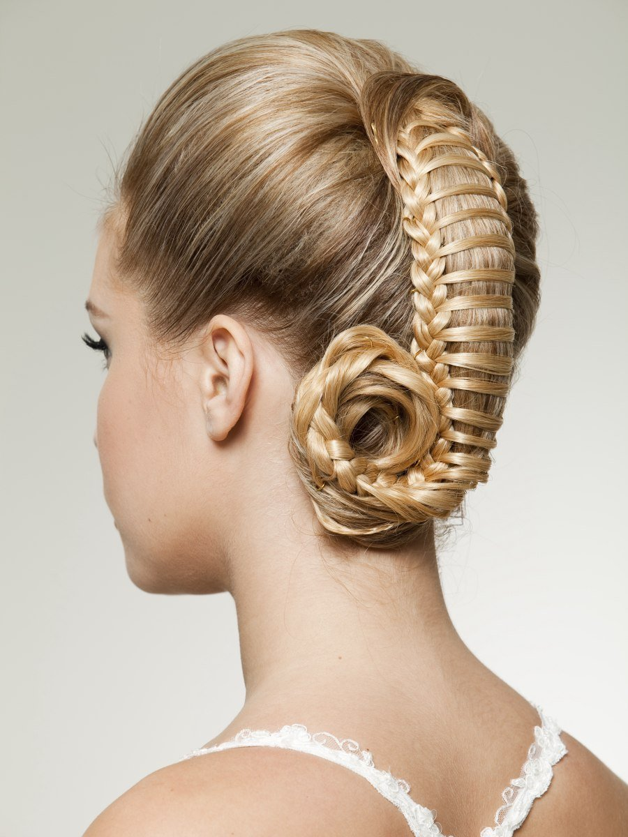 New Up Style With Woven Hair Resembling A Ponytail Captured Ideas With Pictures