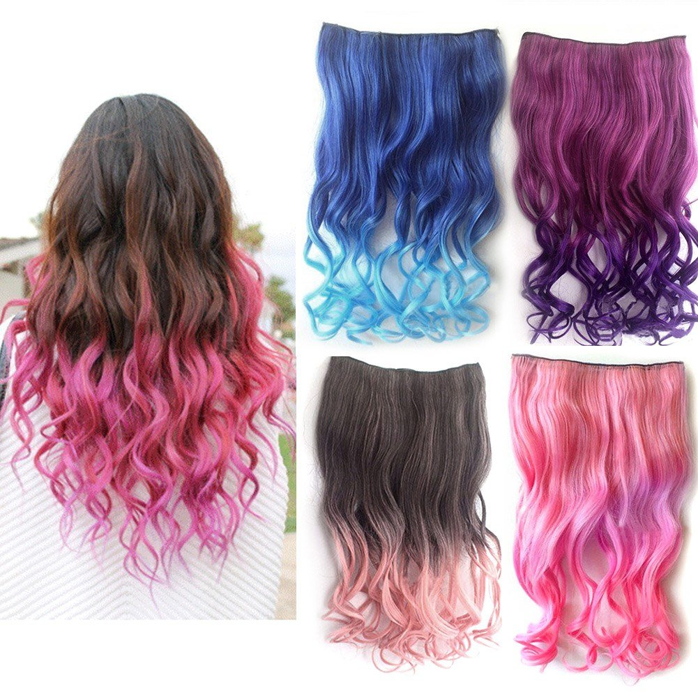 New Colorful Neon Curl Curly Wavy Hair Extensions Ideas With Pictures
