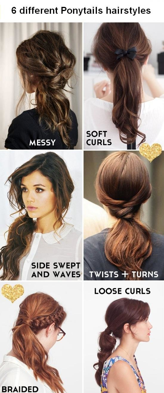 New 6 Different Ponytails Hairstyles Ideas With Pictures